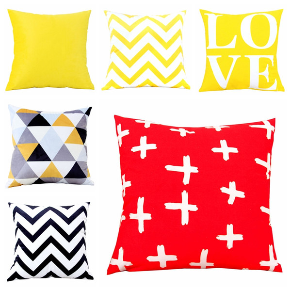 Black and Yellow Geometric Cushion Cover Home Decor Velvet Pillow Cover For Sofa 45*45cm Decorative Pillows Sham Throw Cushions