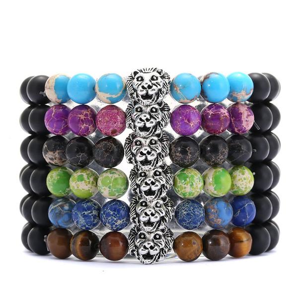 Natural Volcanic Stone Lion Head Beads Bracelet Energy Yoga Beaded Bangle Men Women Charms Elastic Bracelet Support FBA Drop Shipping H894F