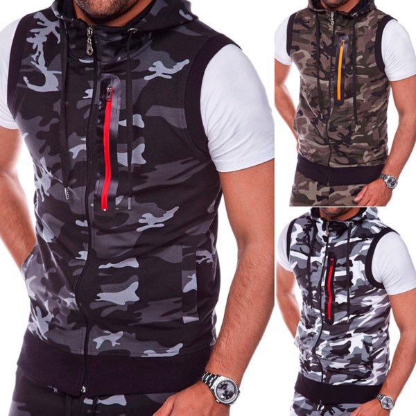 Wholesale 2018 Autumn Winter New Camouflage Round Hem Design Hooded Vest Men's Leisure Sleeveless Hooded Vest Sergeant Style