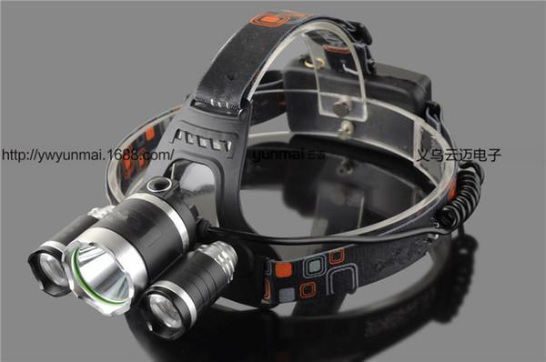 USB Power Led faro anteriore 10000 lumen 3 * Cree xml t6 Torcia lampada ricaricabile 18650 Batteria caccia pesca luce