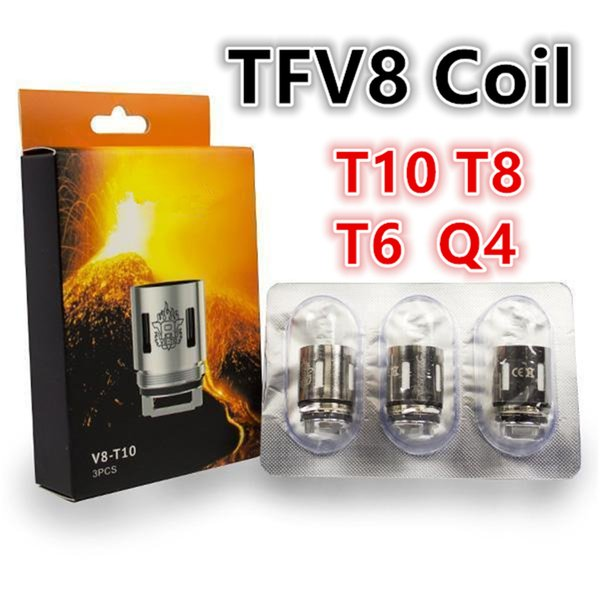 100% Top Selling TFV8 Coil Head V8 T8 T6 Q4 X4 T10 Turbo V8 RBA Replacement Coils For TFV8 Cloud Beast Tank