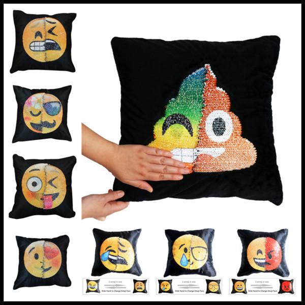 Creative 40 * 40 cm Emoji DIY Sequin Jetée Chaise Taie D'oreiller Carrée Glissière À La Main Changement Visage Oreiller Voitures Chambre Siège