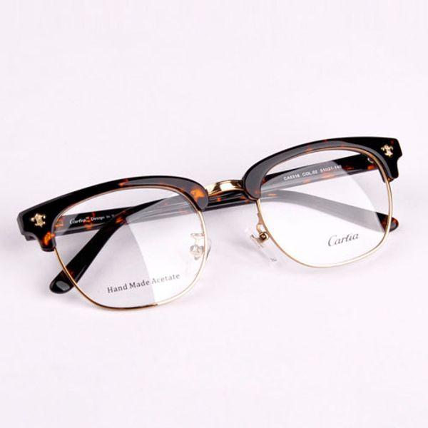 NEW brand black&gold mens semi rimless eyeglasses frames Carfia 5316 metal half frame clear lens glasses optical free shipping