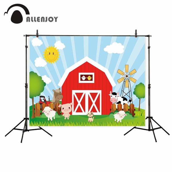 Allenjoy scherzt Hintergrund für Fotografie sonniges hölzernes Haus pinweel Tierwiese roter Bauernhofhintergrund-Babygeburtstag photocall