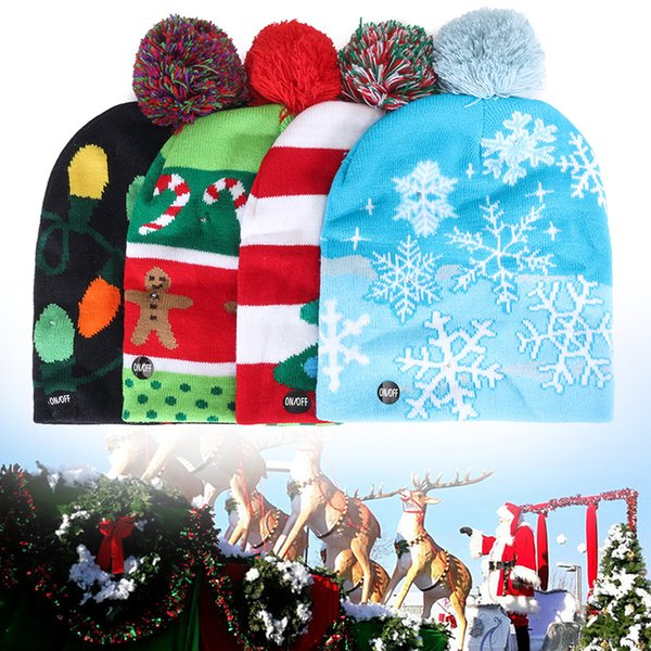 Led Christmas Knitted Hat Santa Claus Snowman Reindeer Elk Festivals Hats Xmas Party Gifts Cap Adult Kid