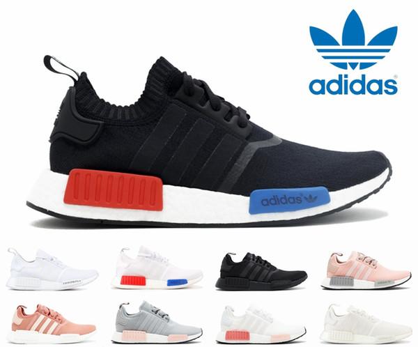 d037614e54ee5 Originals Adidas nmd r1 runner OG Triple Black White Rose Salmon Pink Women  Men Running Shoes Sport Mesh Primeknit Japan nmds Designer Shoes