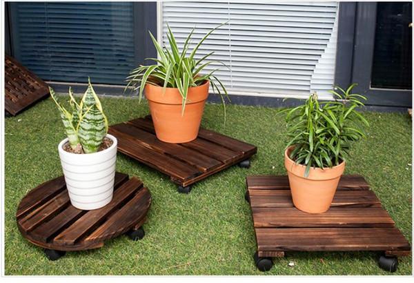 Acquista base mobile in legno vasi da fiori con base rotante