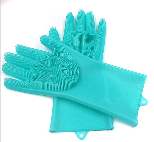 High Quality Magic Silicone Rubbe Dish Washing Gloves Eco-Friendly Scrubber Cleaning For Multipurpose Kitchen Bed Bathroom Hair Care