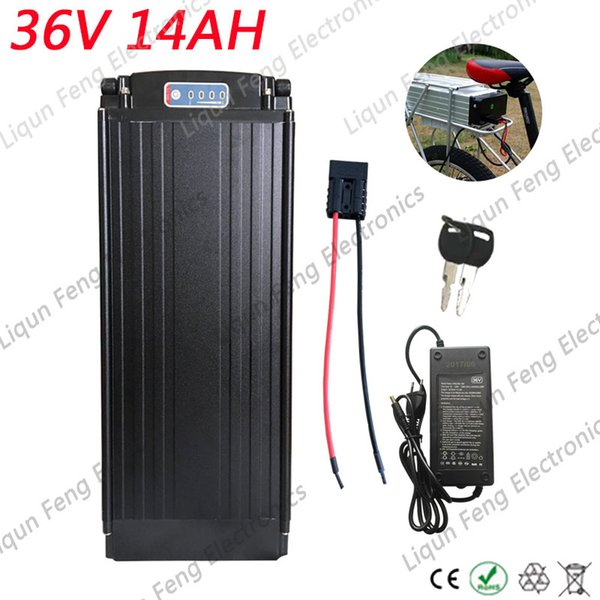 36V 14AH Rear Rack 18650 Kick Scooter E-bike Electric Bicycle Lithium ion Battery BMS for 500W Motor Send Charger Free Shipping
