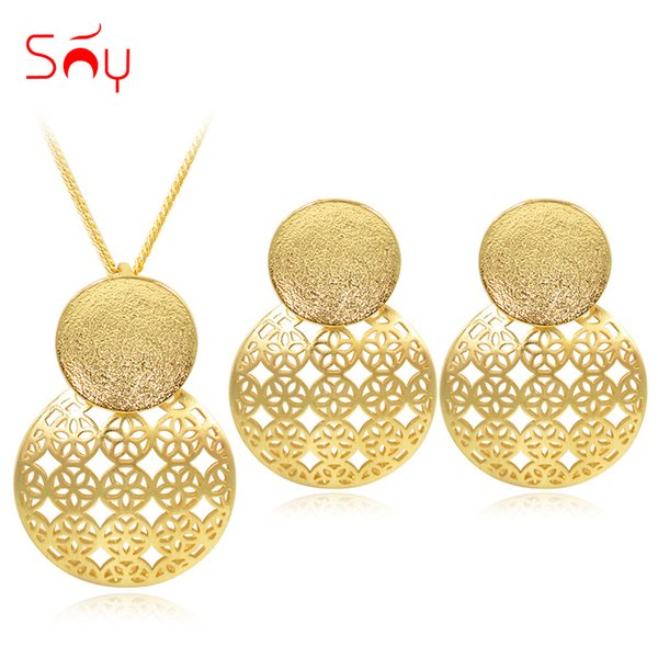 Sunny Jewelry Fashion Exquisite Jewelry Sets For Women Gift Earrings Pendant Necklace Double Round Out For Party Vintage
