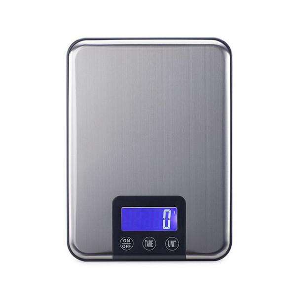 15KG 1G LCD escala de cocina digital 15KG dieta grande de alimentos balance de peso delgada escala electrónica de acero inoxidable retroiluminación azul