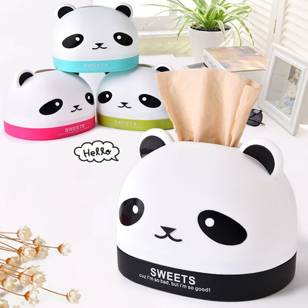 Creative Cartoon Panda Roll/removeable Tissue Box Plastic Toilet Paper Holder Bathroom Refillable Container Roll Paper Holder