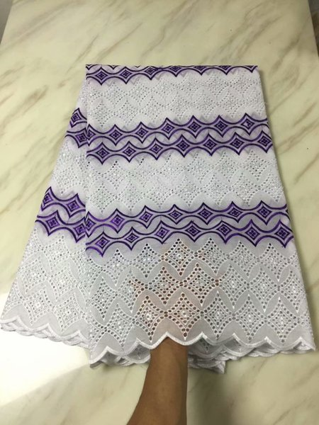TPY1077 Free shipping (5yards/pc) good quality White and purple African dry cotton lace fabric with holes pattern for party dress
