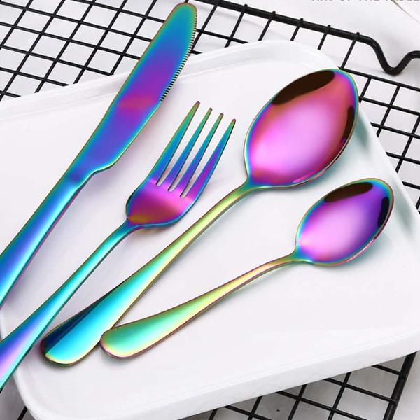 Set de cubiertos de acero inoxidable Set de cubiertos de 4 piezas / set Set de cubiertos de 4 colores Set de cuchillos Tenedor cucharilla de cena Cuchara Sets de vajilla