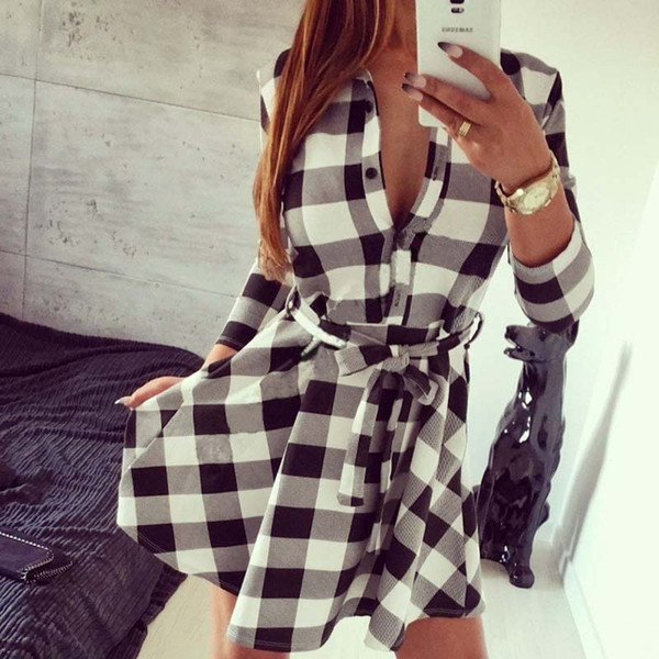 50pcs 2018 Summer Classics Casual Black White Grid Printed Women Stand Collar Seven Sleeve Cotton Button Blouse Dress Size S-2XL