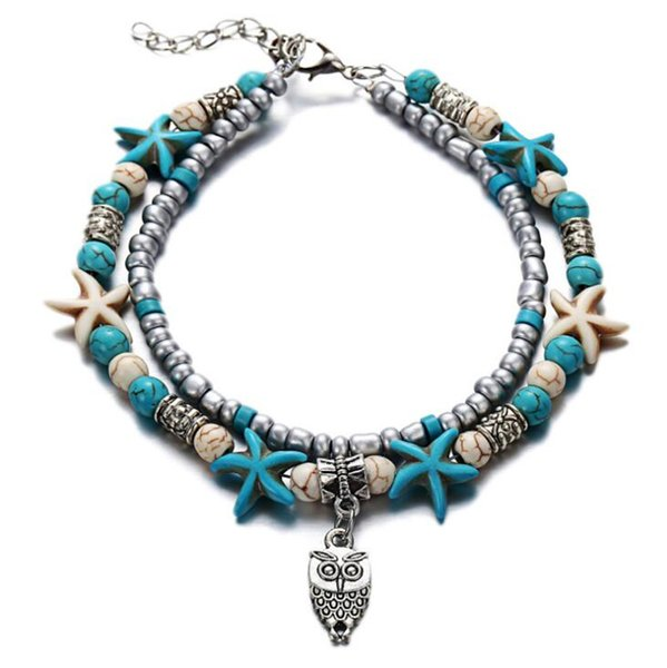Bohemian Multiple Layers Starfish Owl Beads Anklet For Women Vintage Boho Shell Chain Ankle Bracelets Beach Jewelry
