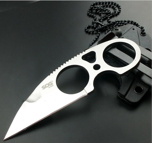 1Pcs Sample Sog Necklace Survival Knife 58-60HRC 5CR15MOV Steel Satin Blade Outdoor Hunting Tactical Knives Camping Outdoor EDC Tools