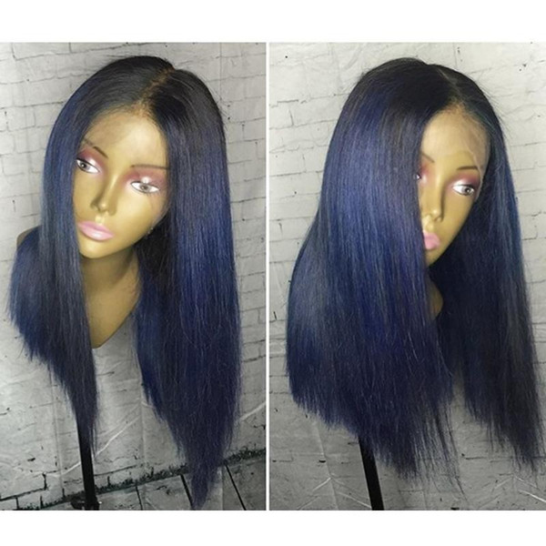 New Dark Roots ombre Blue Wig Glueless silk straight short full Lace Front Wigs With Baby Hair synthetic bob Wigs For Black Women