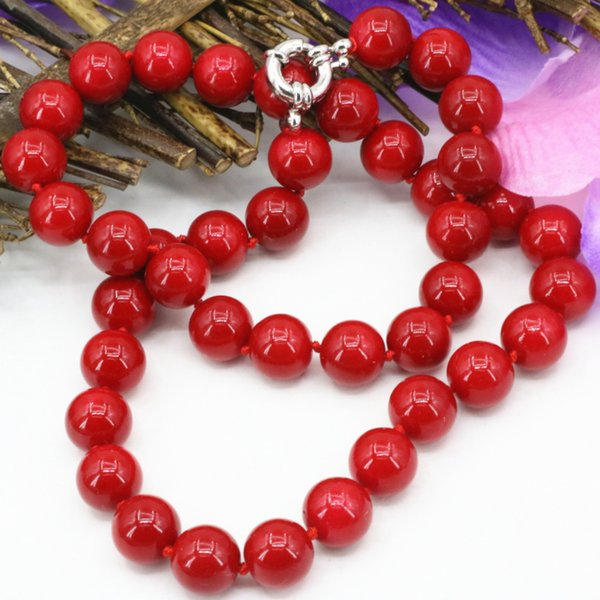 Fashion statement women artificial coral red stone 10mm beads necklace chain choker clavicle jewelry 18inch B3212