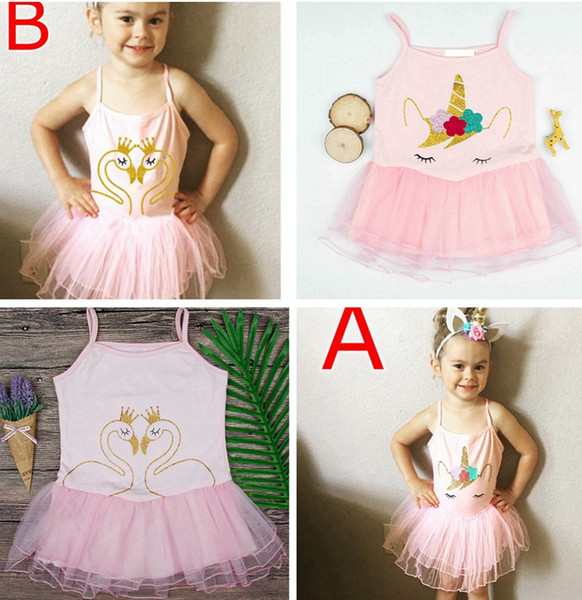 top popular summer ins 1-4Y infant girls unicorn goose pink tutu dress kids crown gooses print dresses baby newborn vest princess dresses free ship 2020