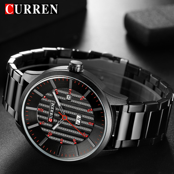 curren fashion quartz men watches stainless steel date wristwatches casual calendar man watch male business relogio masculino, Slivery;brown