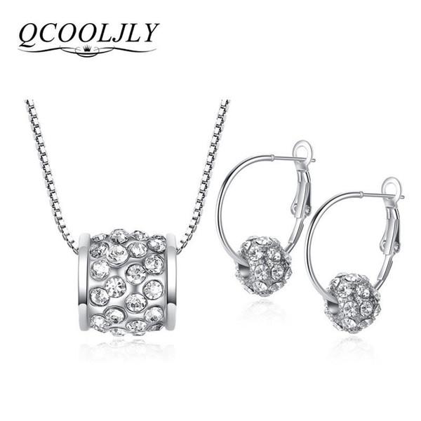 QCOOLJLY Mejores Nuevos Conjuntos de Joyas de Plata Cristal de Plata Austríaco Pave Disco Ball Palanca de Aro Pendiente de Aro Collar de Mujer