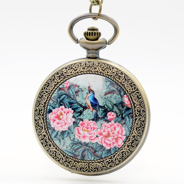 Retro Vintage Birds Rich flowers Chinese ink Painting Quartz Pocket Watch Analog Pendant Necklace Men Women Watches Chain Gift