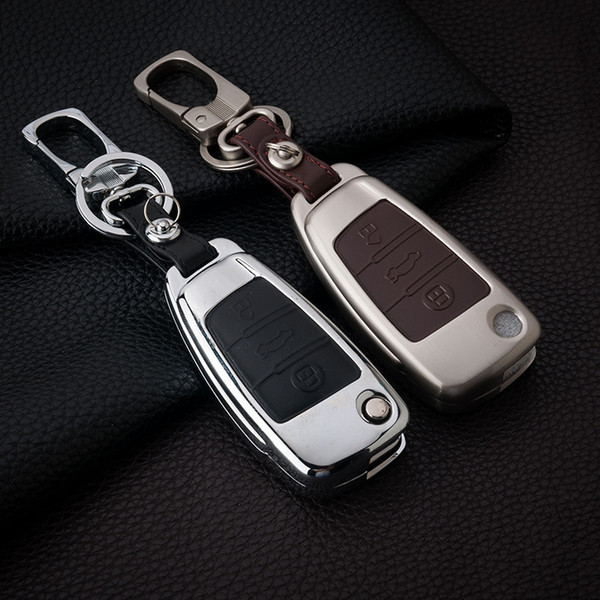 Zinc Alloy+Leather New Remote Car Key Case Cover For for Audi A1 A2 A3 A4 A5 A6 A7 TT Q3 Q5 Q7 R8 S6 S7 S8 SQ5 RS5