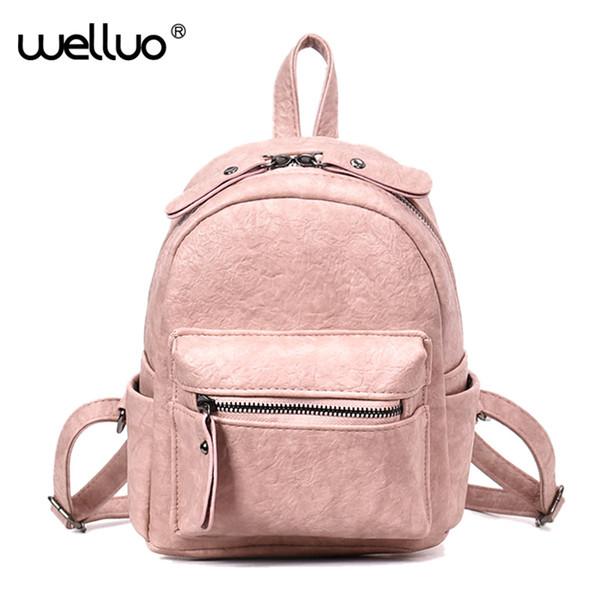 2018 Mini Leather Backpack Women Vintage Small Shoulder Bag For Teenage Girls Female Backpacks Black Brown rucksack XA27