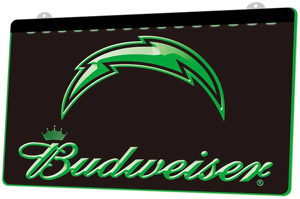 LS429-g-San-Diego-Chargers Football-Budweiser-Club-Neon-Light-Sign Decor Free Shipping Dropshipping Wholesale 6 colors to choose