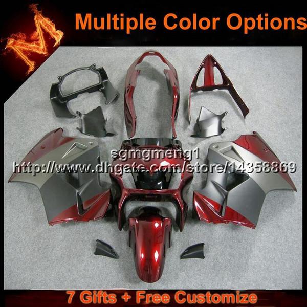 23colors + 8Gifts silvergray rojo Cubierta de la motocicleta de la carrocería para HONDA VFR800 1998 1999 2000 2001 VFR800 98 01 ABS Plastic Fairings