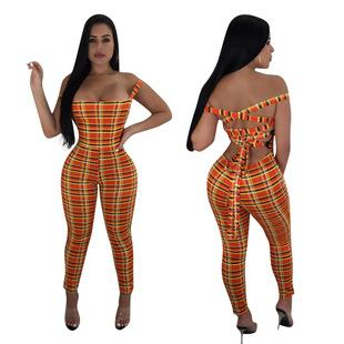 Orange Plaid Print Sexy Jumpsuit Women Sleeveless Cross Lace Up Backless Bodycon Overall Summer Hollow Jumpsuits&Rompers