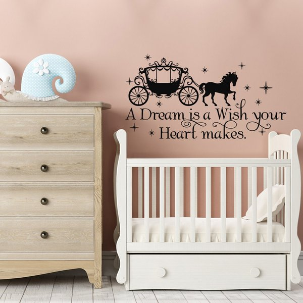 A Dream Is A Wish Your Heart Makes Cinderella Quote Wall Decal Fairy Wall Stickers For Living room Girls bedroom Home Decoration