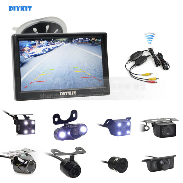 DIYKIT Wireless 5inch Car Rearview Monitor Auto Parking Vedio + LED Night Vision Backup Reverse Camera HD Car Rear View Camera