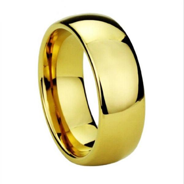 Transporte da gota 8mm tungsten wedding band anéis de cor de ouro para os homens anel de dedo de noivado aliança clássico jóias tamanho 4 to15