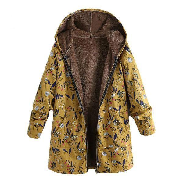 Parka Coat Damen Winddichte dünne Baumwolljacke warme Jacke mit Kapuze Winter warme Blumendrucktaschen Vintage Oversize-Mäntel