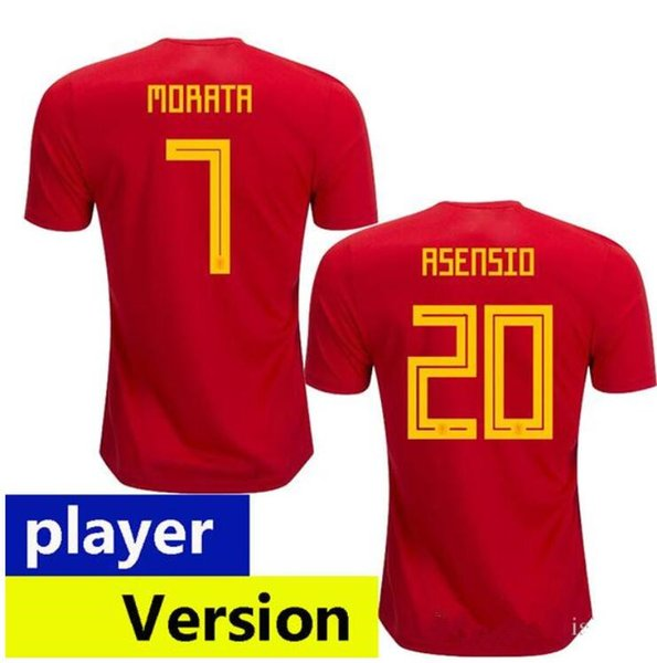 Player version Wholesale Thai quality 2018 2019 world cup ASENSIO MORATA  Spain soccer jerseys Sergio Ramos INIESTA Camisa size 2031c1083