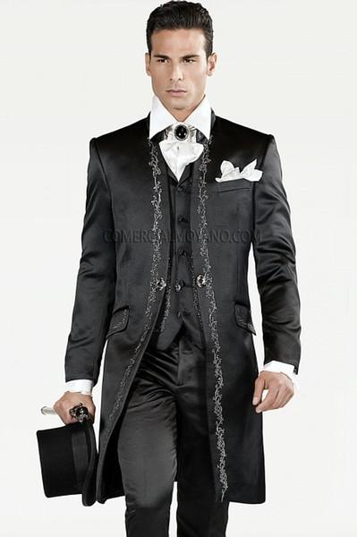 Nach Maß Bestickte Groomsmen Mandarin Revers Bräutigam Smoking Schwarz Herren Anzüge Hochzeit / Prom Trauzeuge Blazer (Jacke + Hose + Weste + Krawatte) O21
