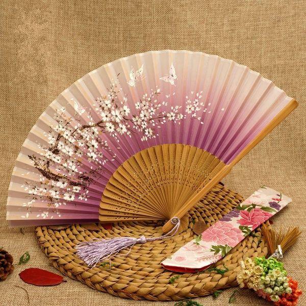 Mujeres Ventiladores Plegables Sonrisa Proceso de Flores de Cerezo Ventilador de Mano de Bambú Manual Talla de Seda Decoración de mesa Artes Y Oficios 4 5sg gg