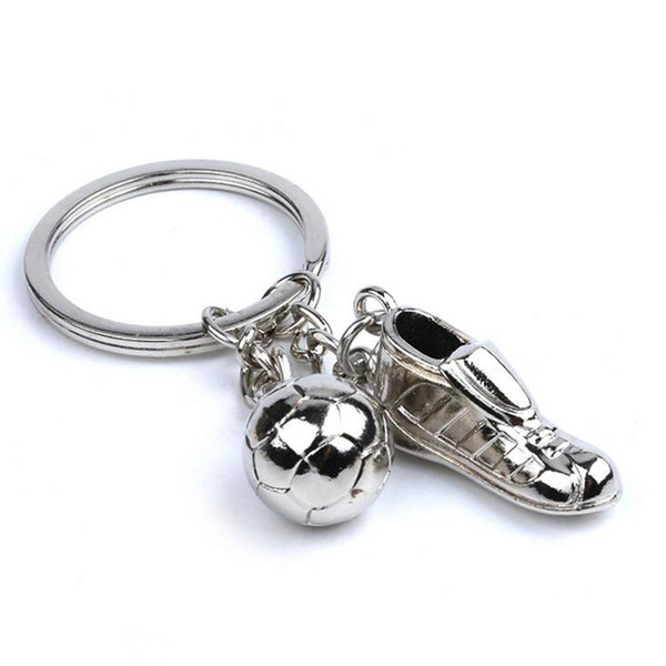 Fashion 50pcs Hot Selling Unique Soccer Shoes Football Ball Stainless Steel Metal Keychain Key Chain Ring Gift For Events Parties etc.