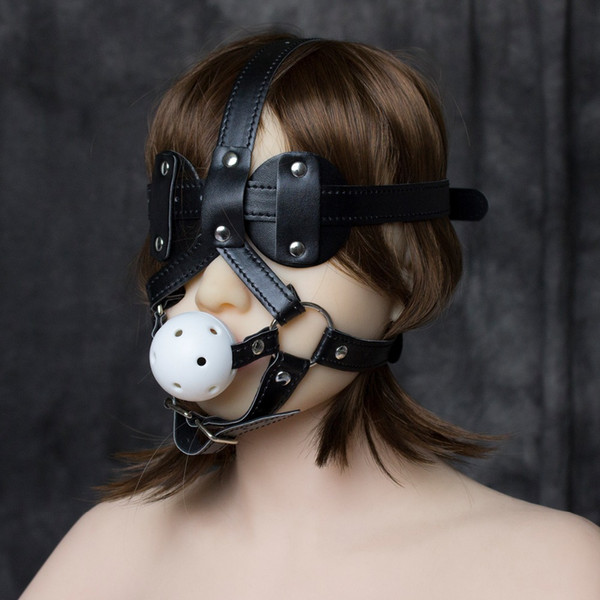 PU leather head harness bondage restraint ball open mouth gag eye mask cover adult fetish SM sex game toy for women men couple Y18100802