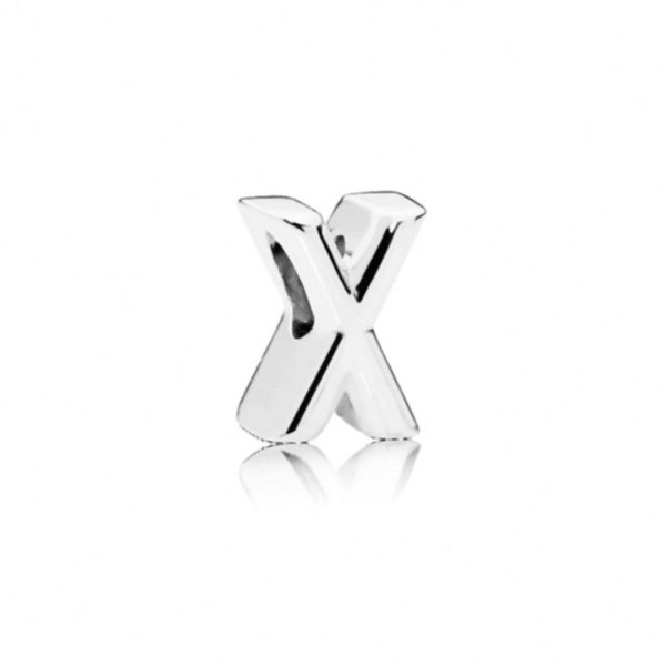 free shipping MOQ mix 26pcs 925 silver initial letter diy loose bead jewelry marking charm fit pandora european style bracelet necklace D024