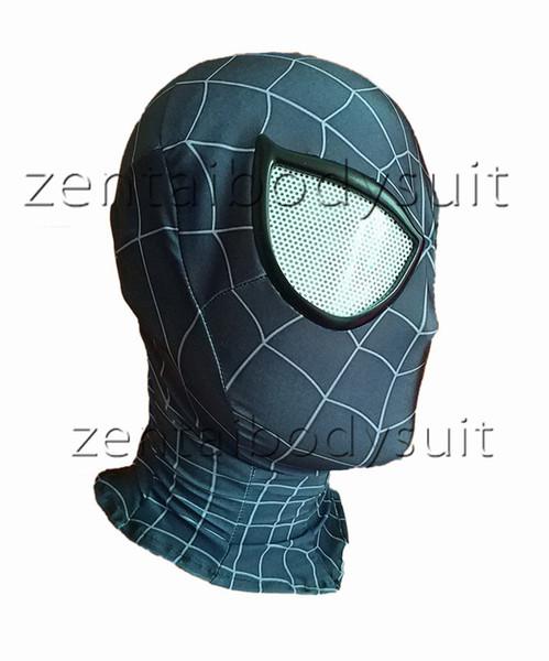 Siyah Örümcek Adam maskesi Cosplay Kostüm 3D baskı Lycra Spandex Maske siyah / siyahYetişkin boyutları Parti malzemeleri ücretsiz teslimat