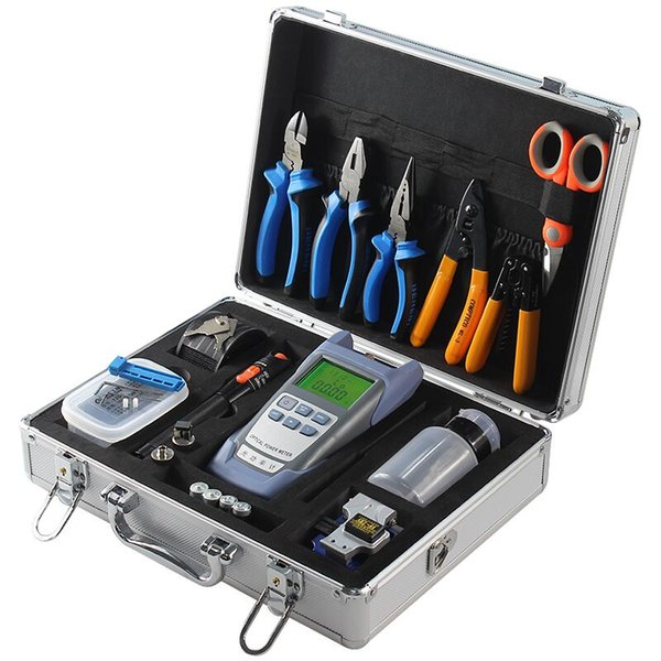 Fiber Optic FTTH Tool Kit with 10MW Red light source Fiber Cleaver and Optical Power Meter toolbox set