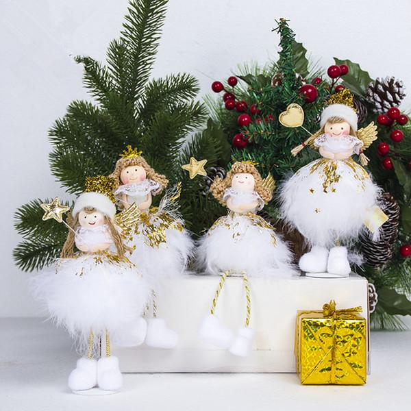 Adorable ángel blanco alas muñeca árbol de navidad decoraciones colgante escritorio decoración navidad regalo año nuevo decoraciones de navidad para el hogar Y18102609