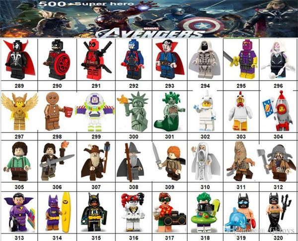 Wholsale Super hero Mini Figures Marvel Avengers DC Justice League Wonder woman Harlry Quinn Black Panther building blocks kids gifts