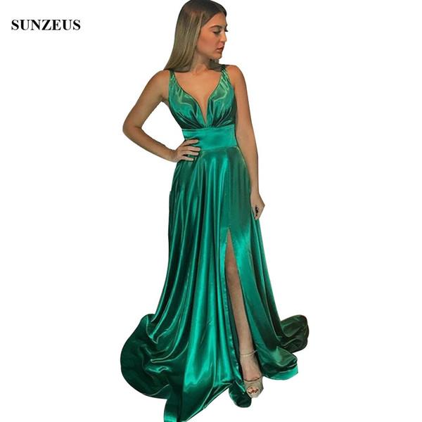 38a6965a6 Vestidos de fiesta largos verdes Vestido de fiesta sexy con escote en v  profundo con abertura