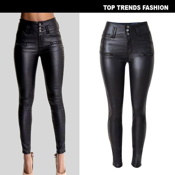 W-Yunna Kadınlar için Yeni Moda İmitasyon Denim İnce Tayt Siyah Motosiklet Streetwear Pantolon Kıvrımlar Düğme PU Deri Pantolon