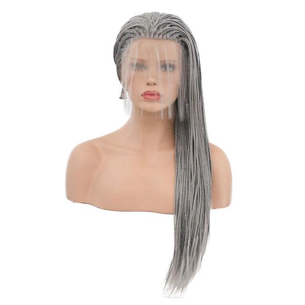 Tressé Perruques Résistant À La Chaleur Fibre Siver Gris Longue Synthétique Tressé Avant de Lacet Perruques Pour Les Femmes Perruque Avec Des Cheveux De Bébé