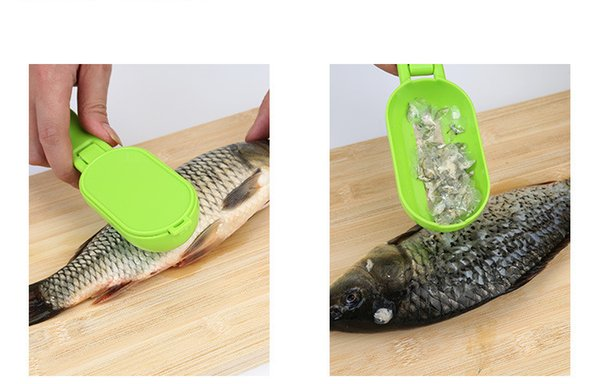 Portable Fish scales skin remover scaler and knife fast cleaning fish skin steel plastic scraper kitchenware clean peeler tool WS-17
